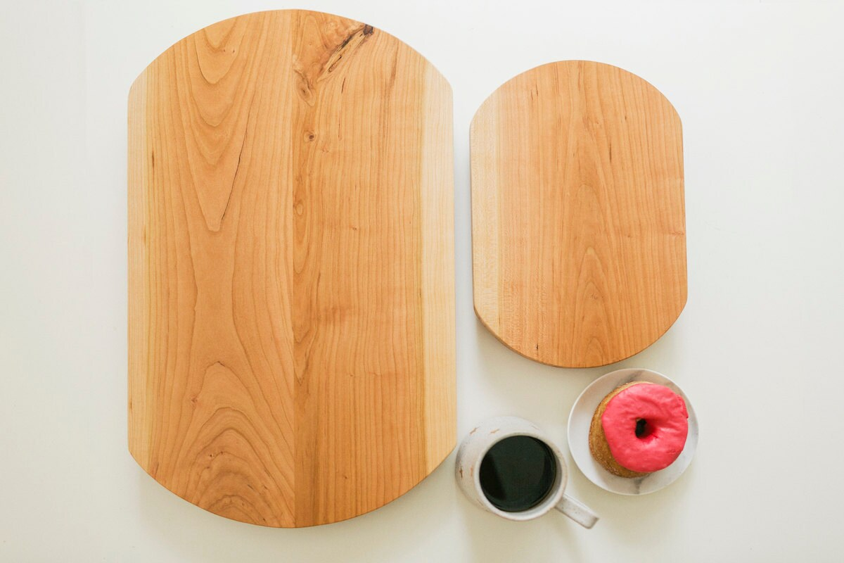 Cherry wood serving trays from the A Beautiful Mess x Etsy collection