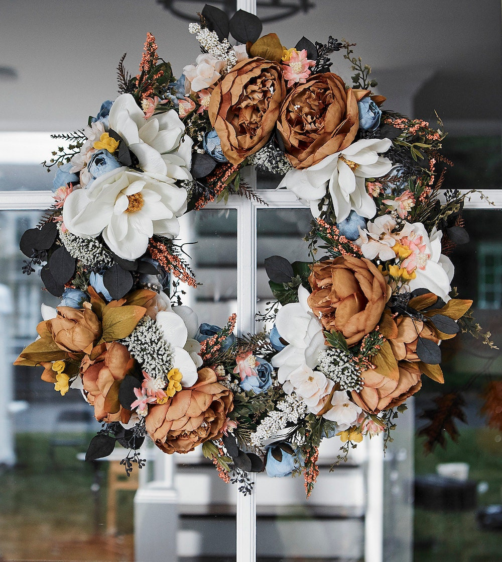 An autumn-inspired silk wreath from Wicked Petals Floral