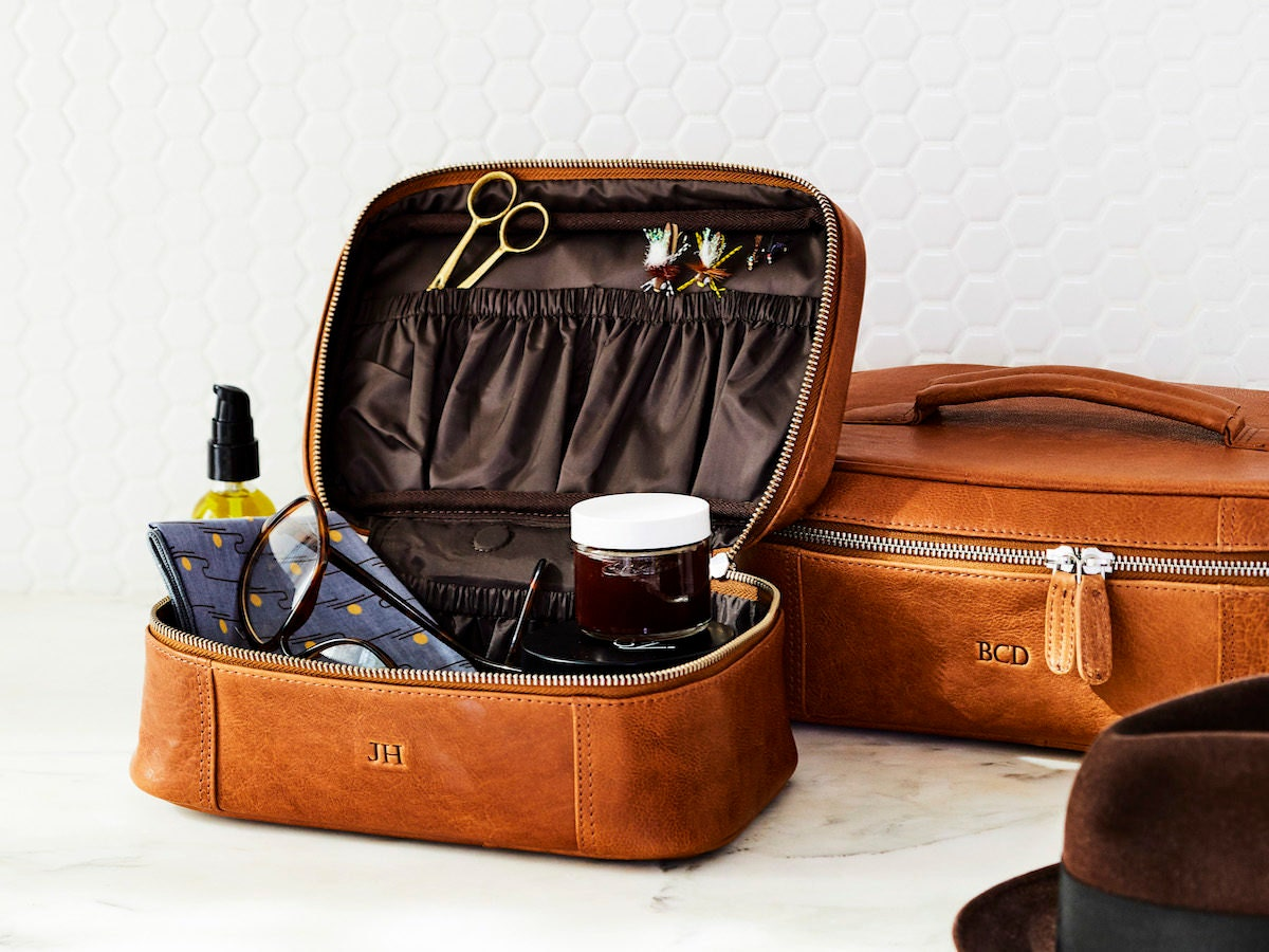 Two personalized leather dopp kits from The Leather Expert