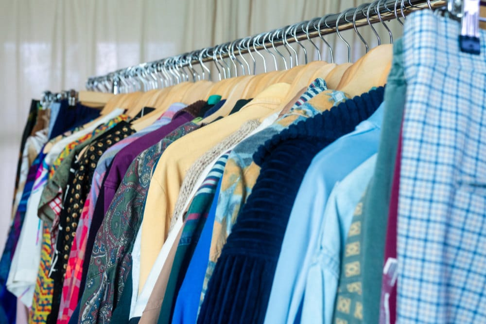 A rack of vintage clothes at Norman and Rachelle's at-home shop in Texas.
