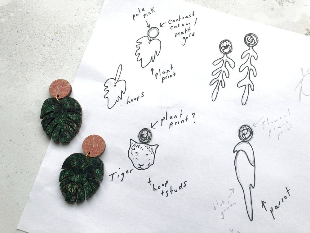 Sketching out jewelry designs.