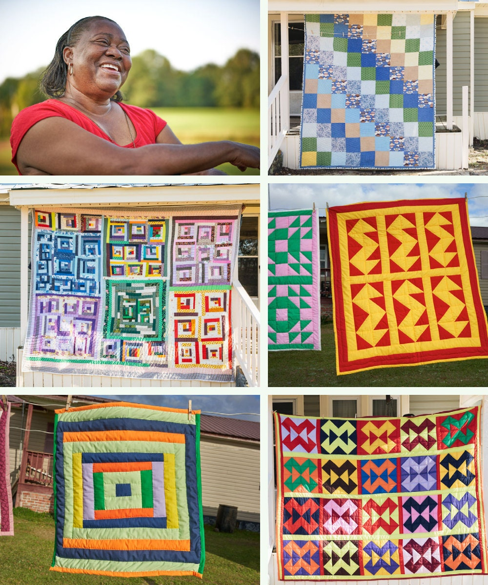 A collage of Gee's Bend quilter Doris Mosely and her quilts.