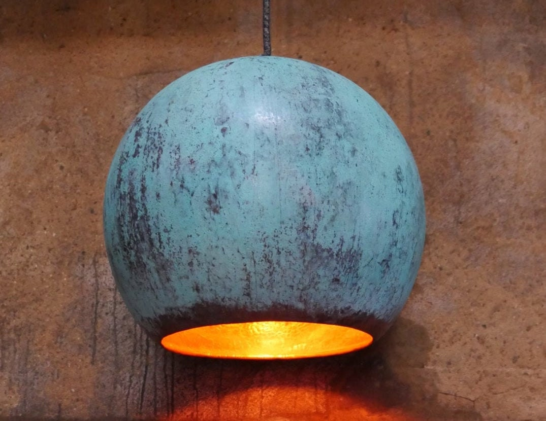Hand-hammered oxidized copper lamp from Etsy seller TISJA, $322