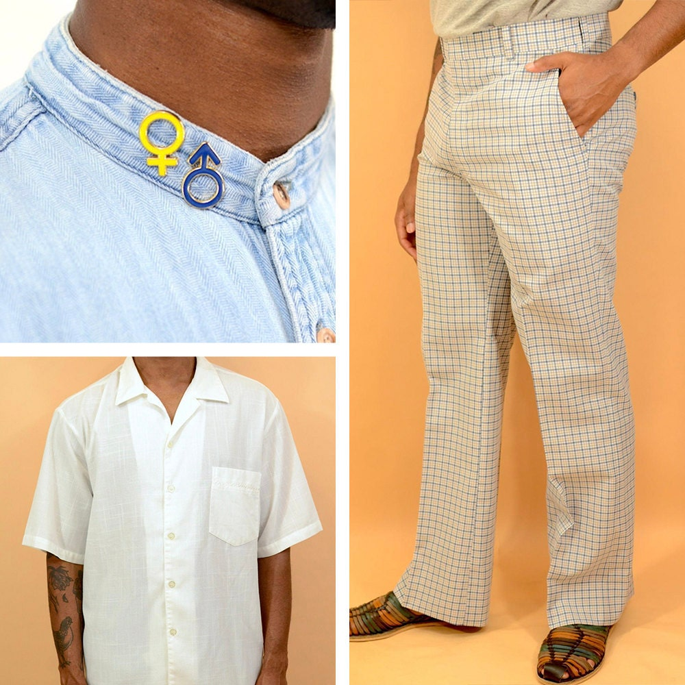 A collage of vintage men's clothing and accessories available from MAW SUPPLY
