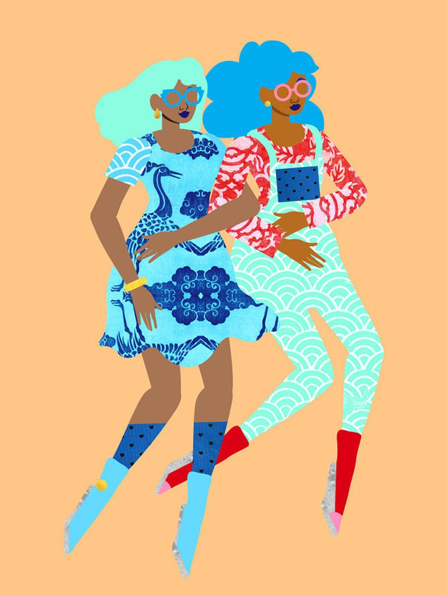 An illustration of two women walking arm-in-arm with colorful outfits and hair.
