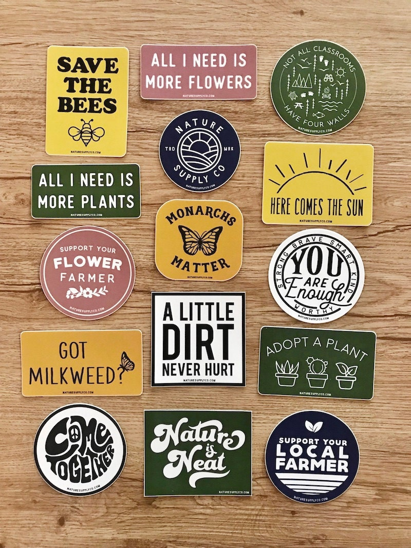 Assorted stickers from Nature Supply Co.