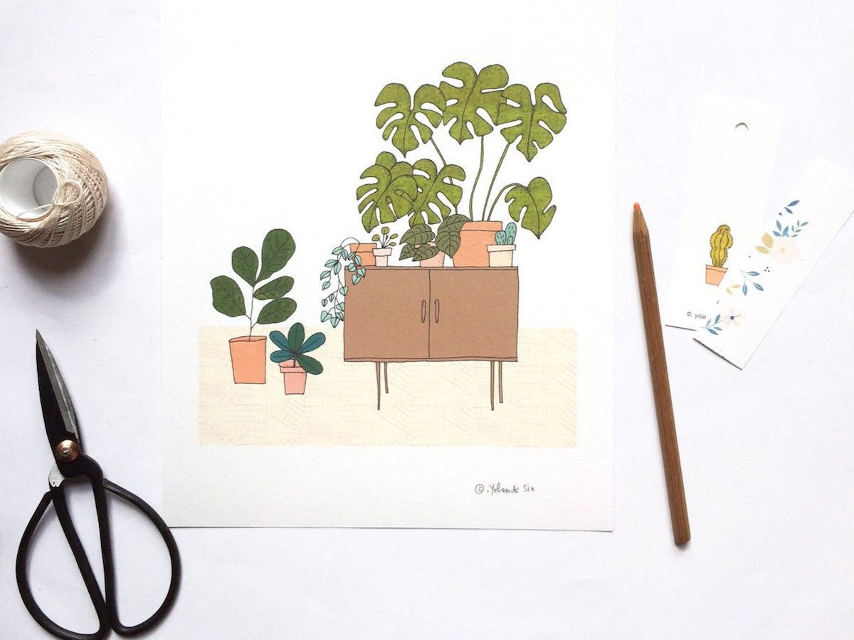 Hand-illustrated art print by Mademoiselleyo featuring potted plants on a credenza.