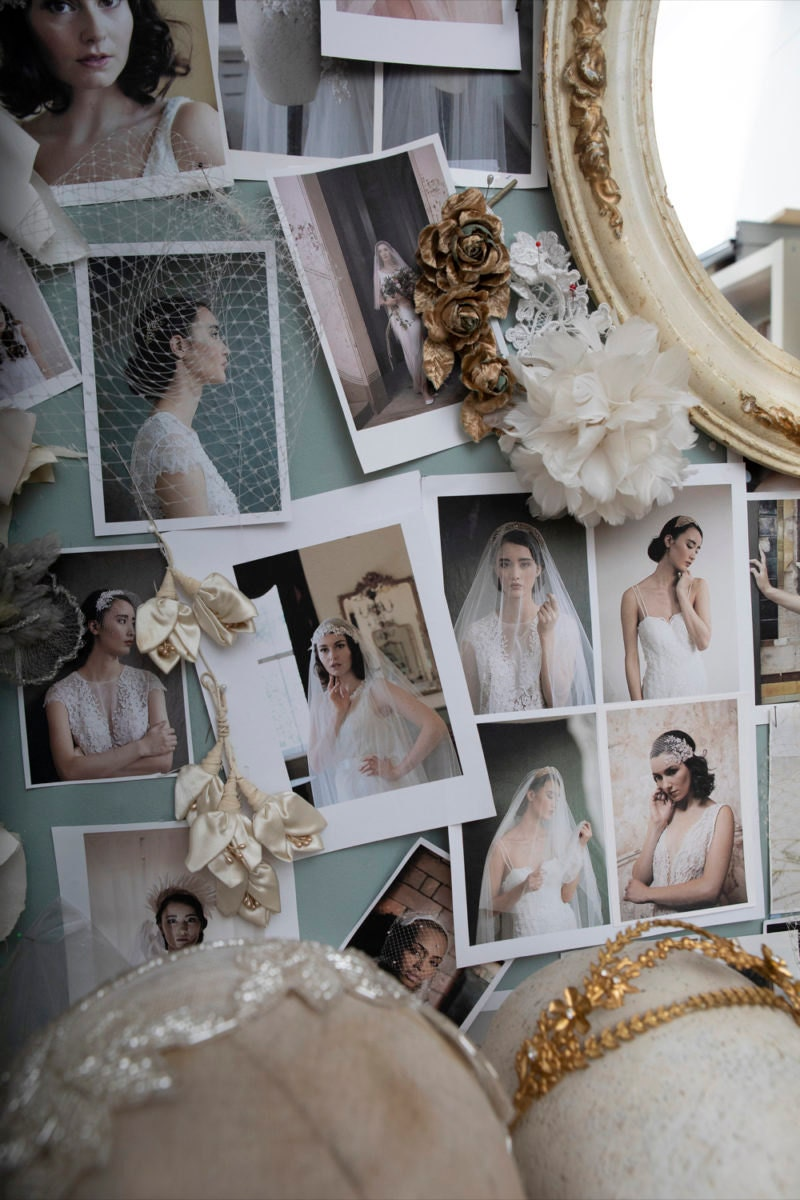 Closeup of photographs pinned to Rae's mood board.