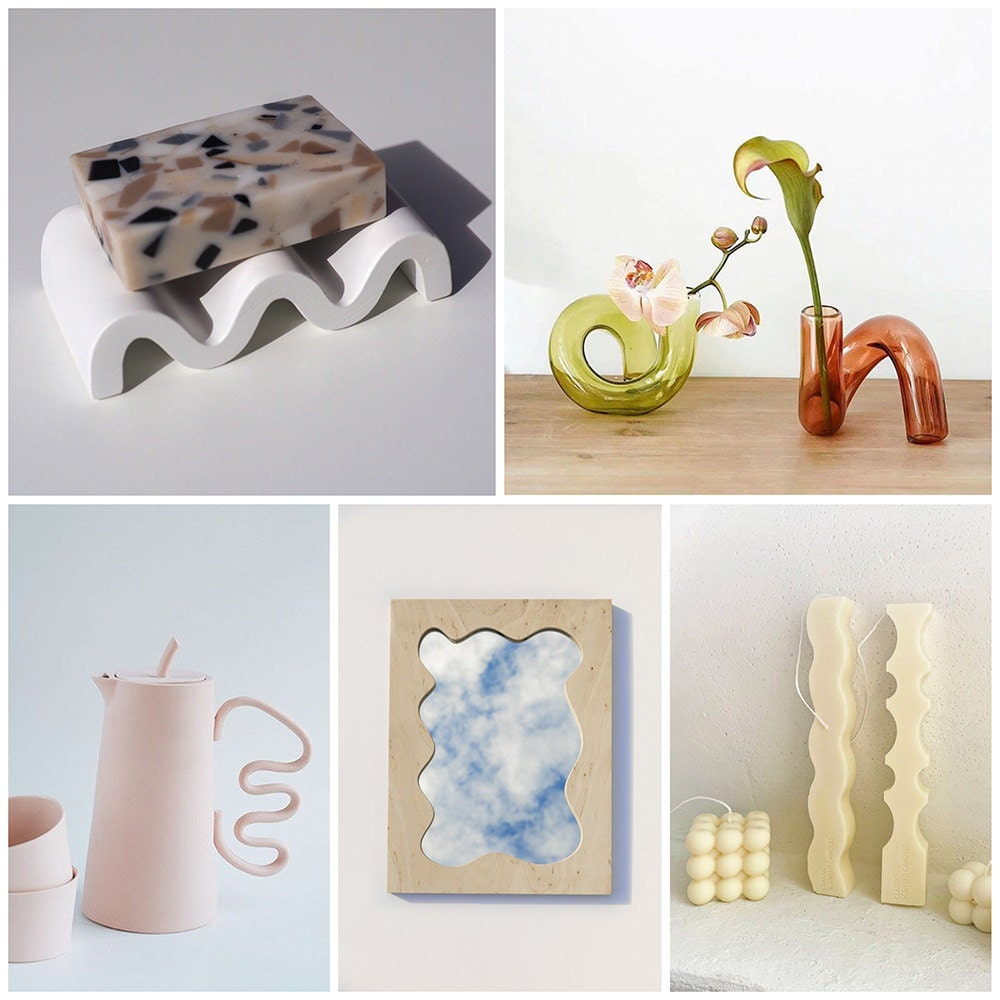 A collage of squiggly, wavy home decor items