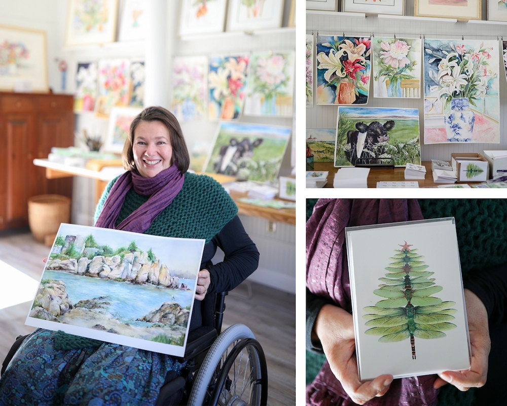 A portrait of watercolor artist Shirley Bell collaged with some prints and cards from her collection