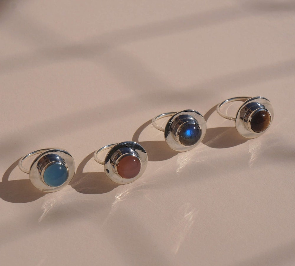 Silver gemstone statement rings from Aleishla