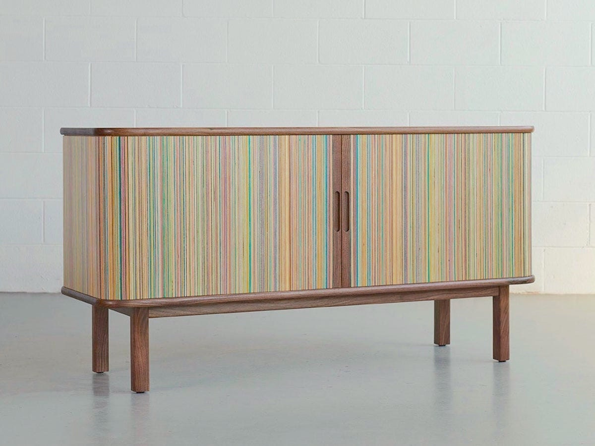 A recycled skateboard credenza from AdrianMartinus