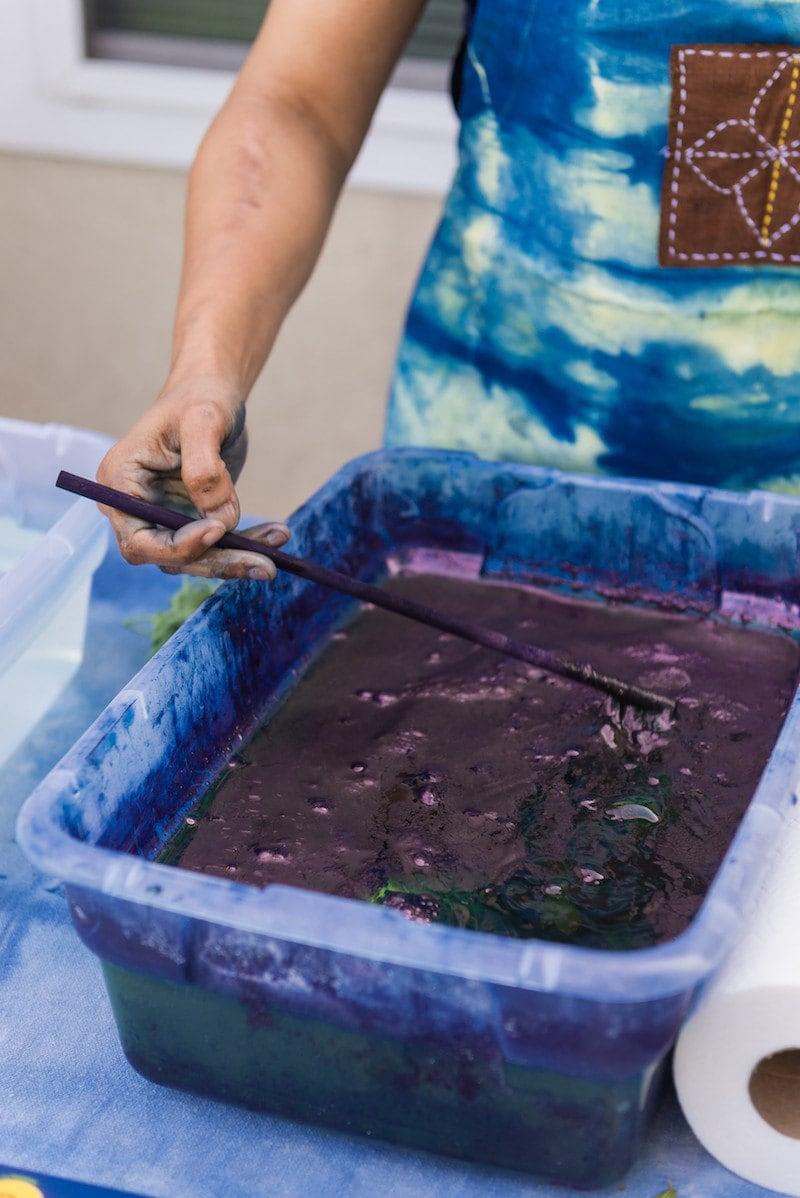 A vat of all-natural indigo dye