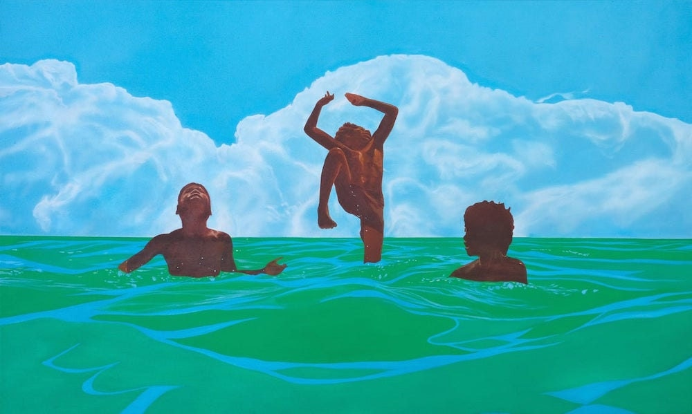 An art print featuring three Black boys playing in the sea, by Mark Milligan