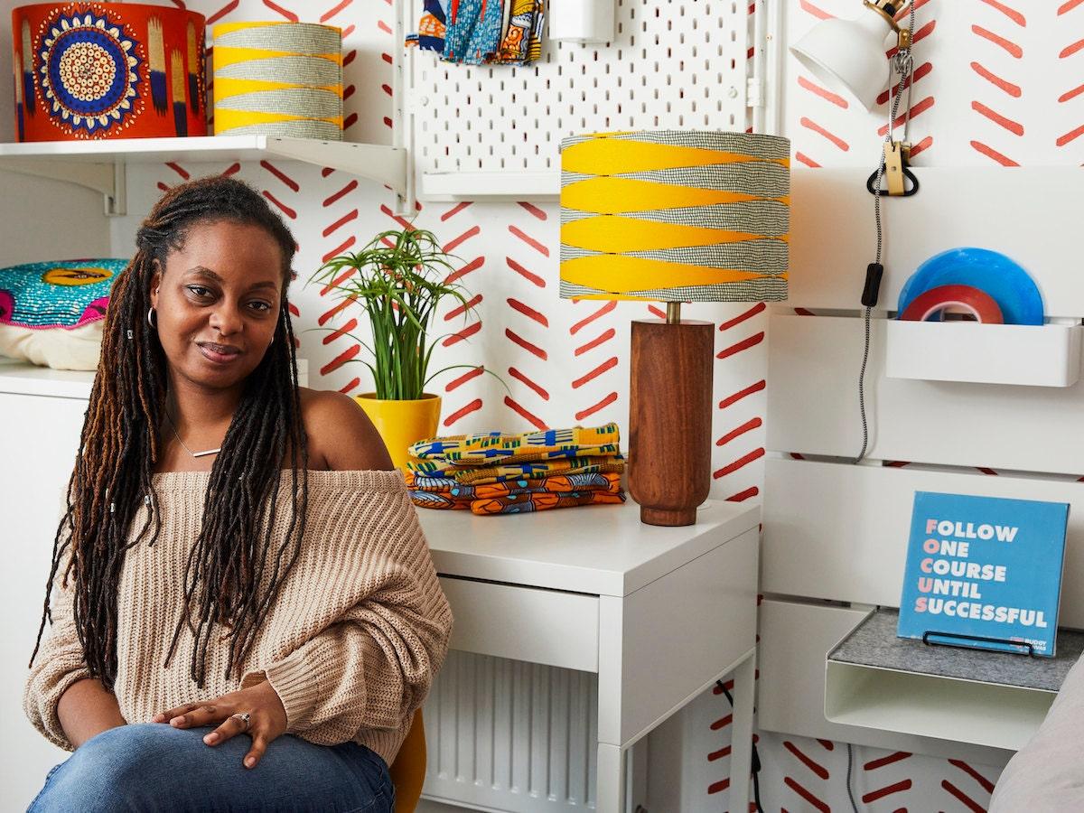 Portrait of Etsy seller Natalie Manima, owner of homewares shop Bespoke Binny, in her home studio in London