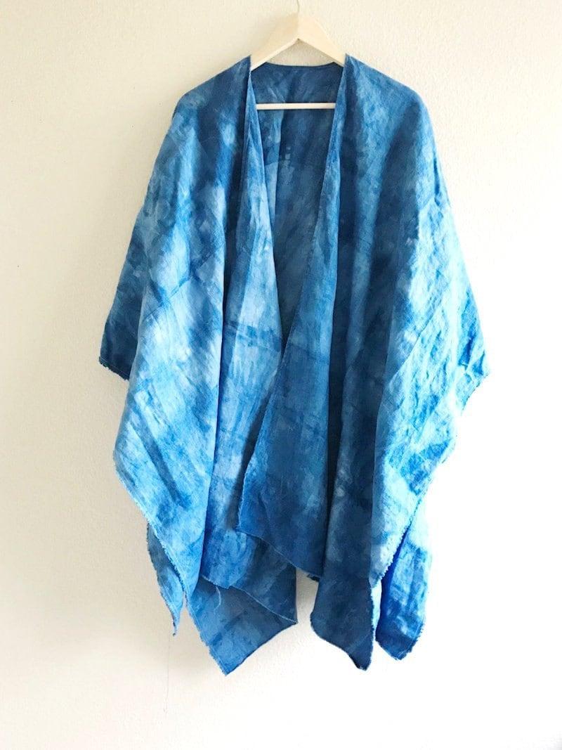 A shibori-dyed ruana shawl from Adroit