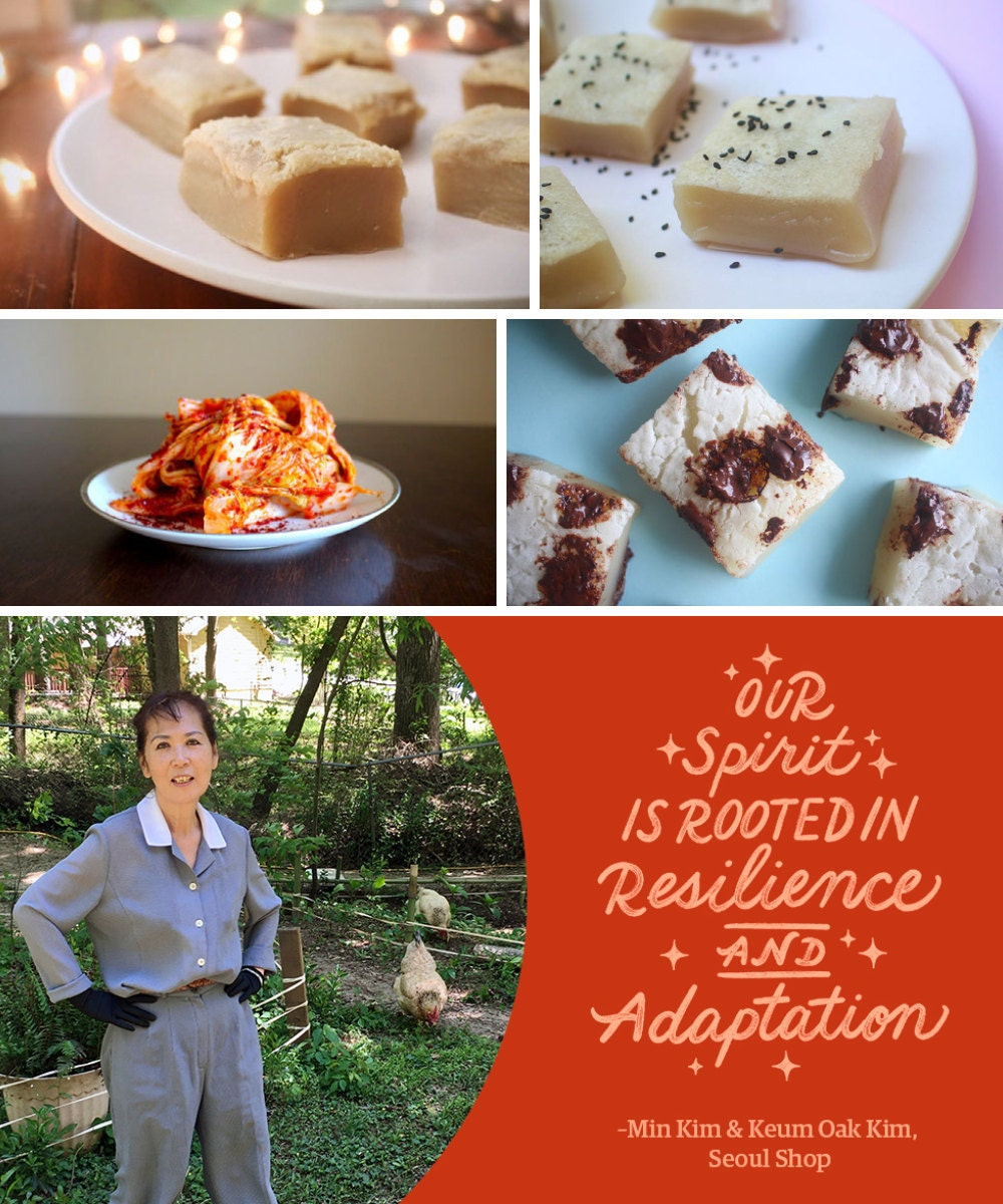 """A collage of homemade Korean comfort foods from Seoul Shop, including a portrait of shop owner and chef Keum Oak Kim alongside a hand-lettered quote reading """"Our spirit is rooted in resilience and adaptation."""""""