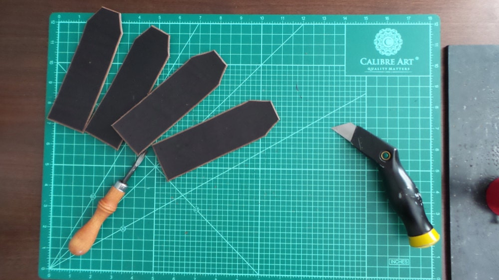 Leather pieces cut for straps