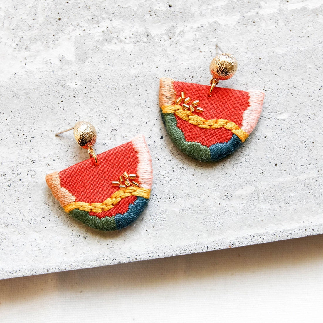 Vibrant abstract embroidered earrings from Thursday Craft Love