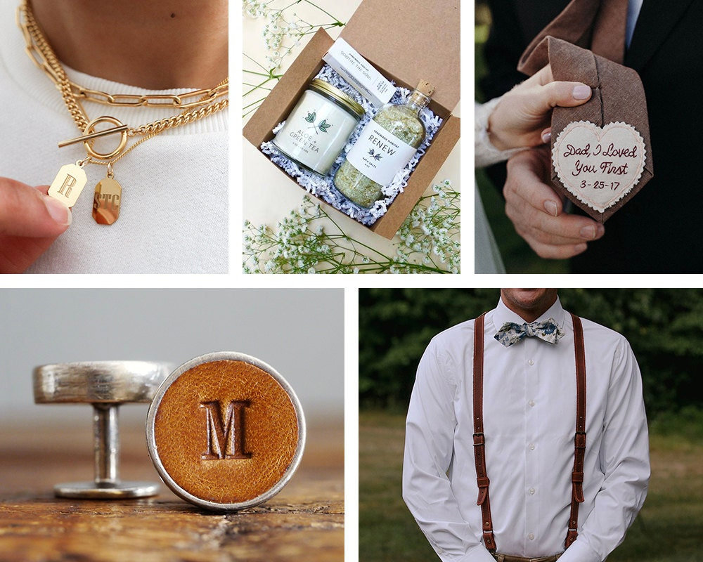 A collage of wedding party gifts from Etsy