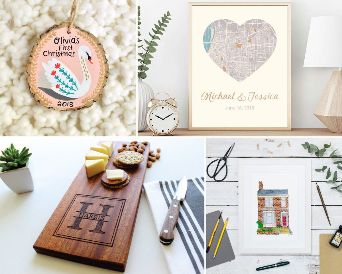 Collage of milestone mementos from Etsy: a personalized ornament, a custom map, a custom house portrait, and a personalized cheese board