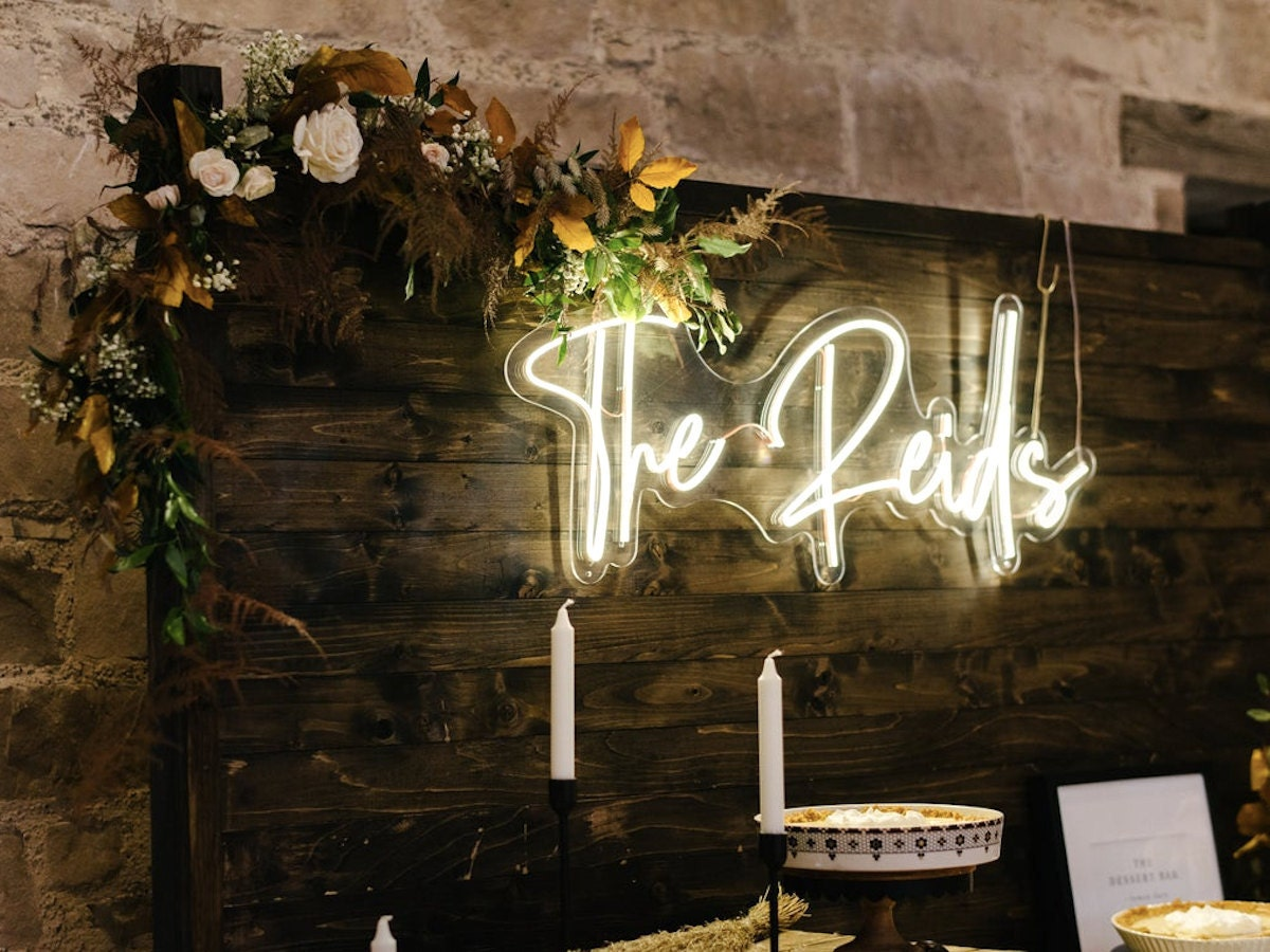 Custom LED neon wedding sign from Joy Neon, on Etsy