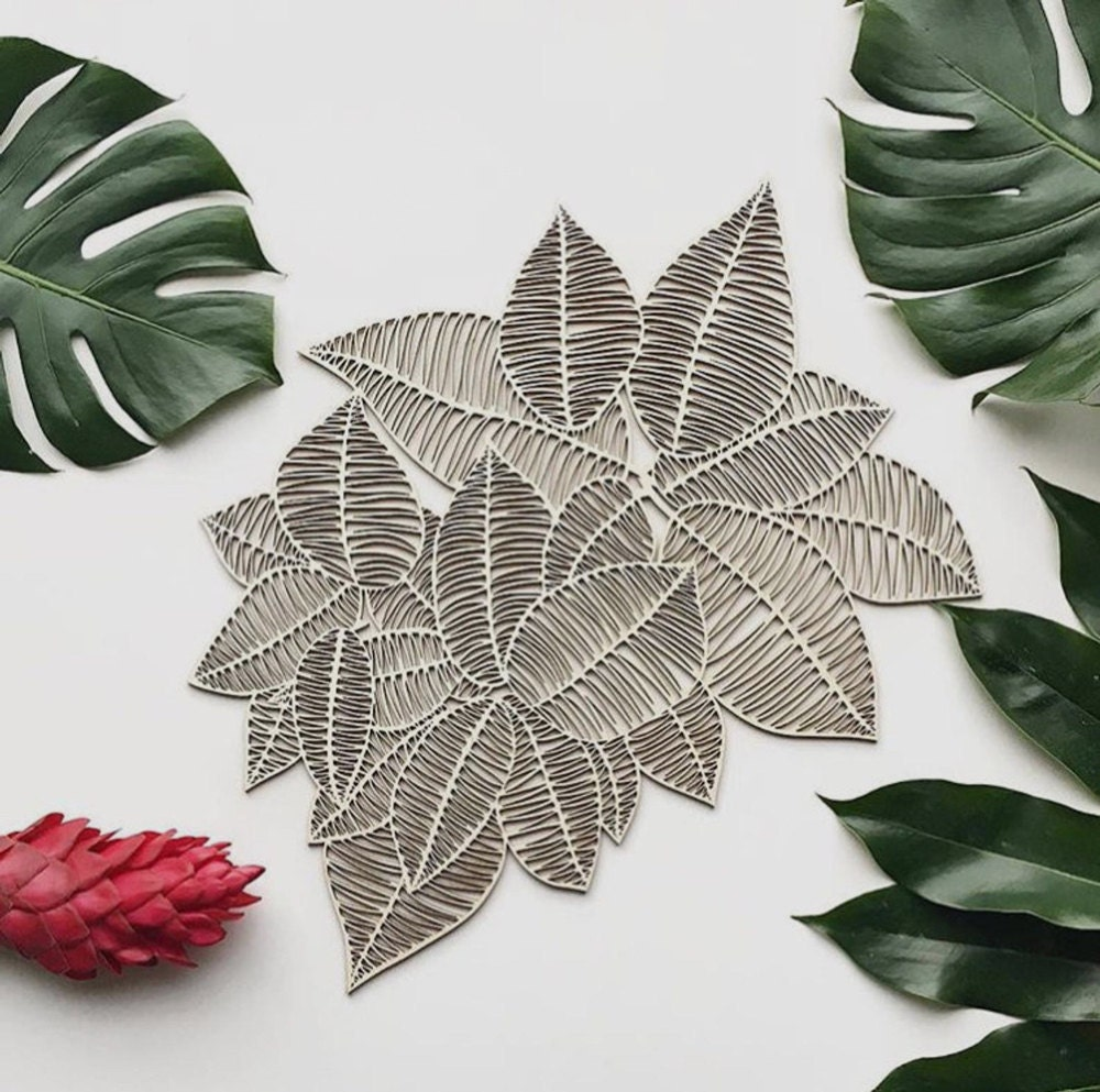 Laser-cut leaves wooden wall art from Light + Paper