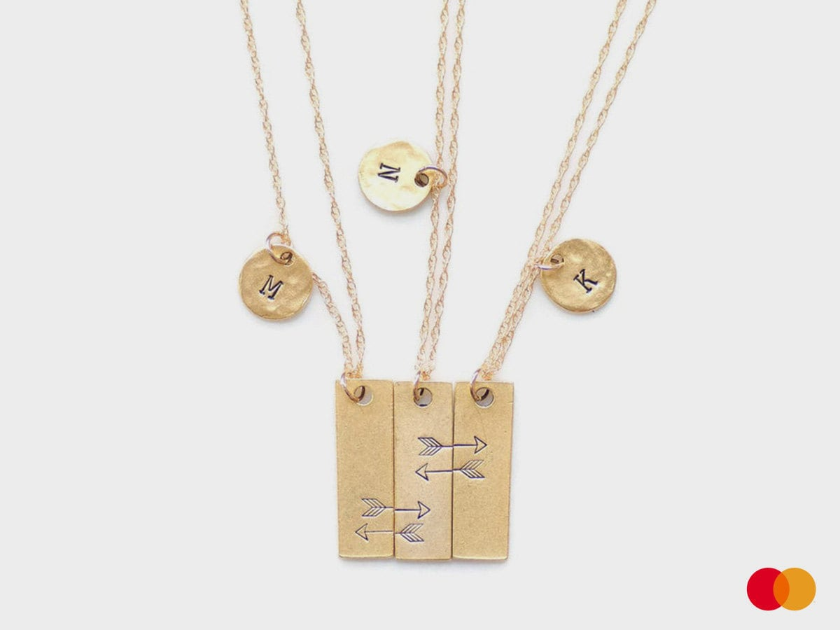 A hand-stamped triple-friendship necklace from Olive Bella.