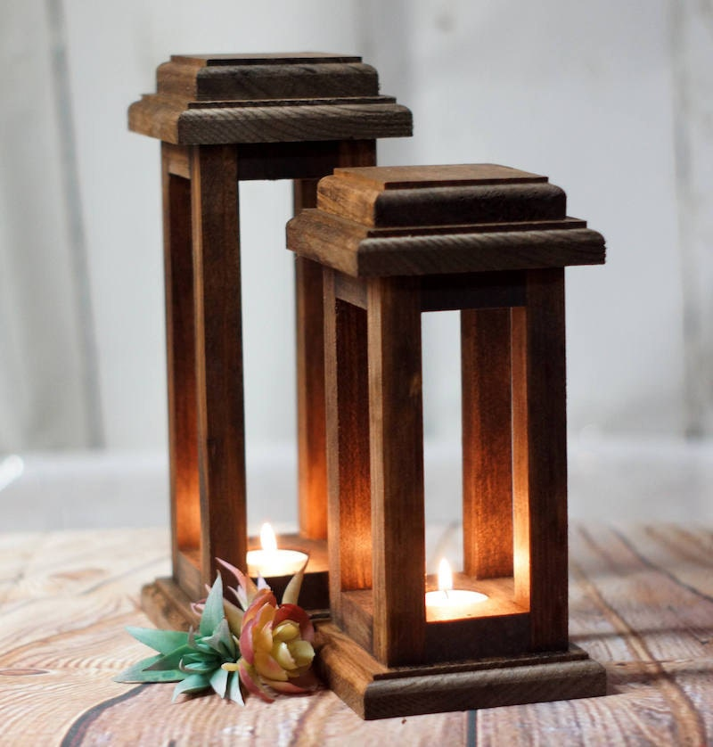Pair of wooden lanterns from GFT Woodcraft