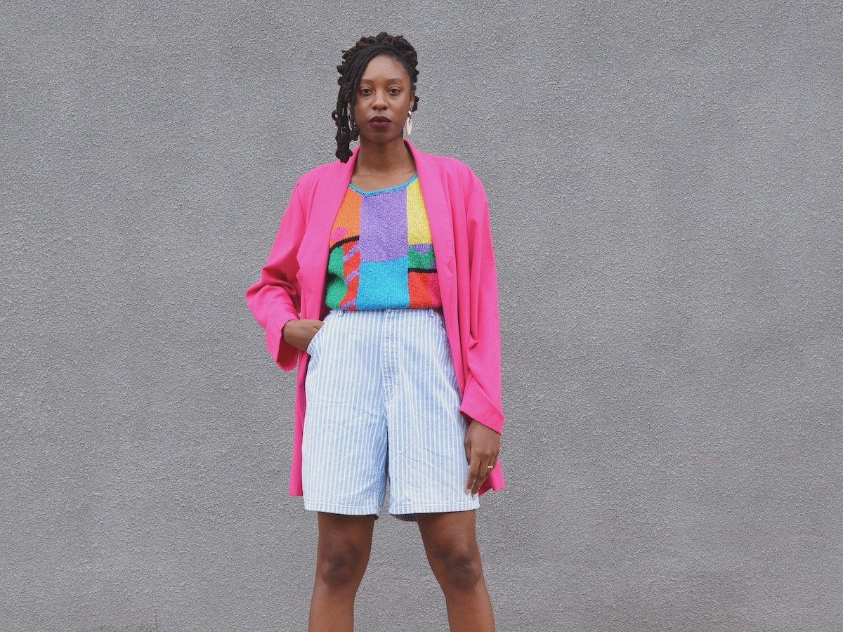 Rachelle Clark from MAW SUPPLY models a colorful vintage summer outfit.