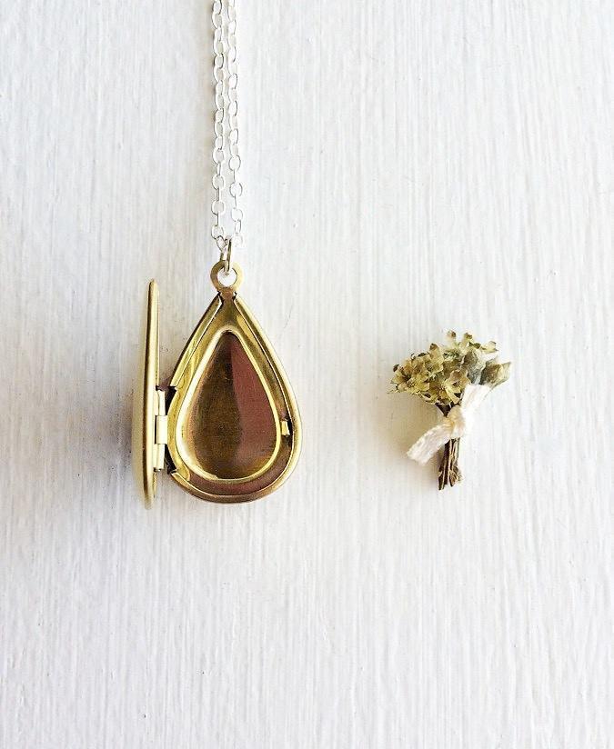 Personalized brass locket from Rebecca Tollefsen