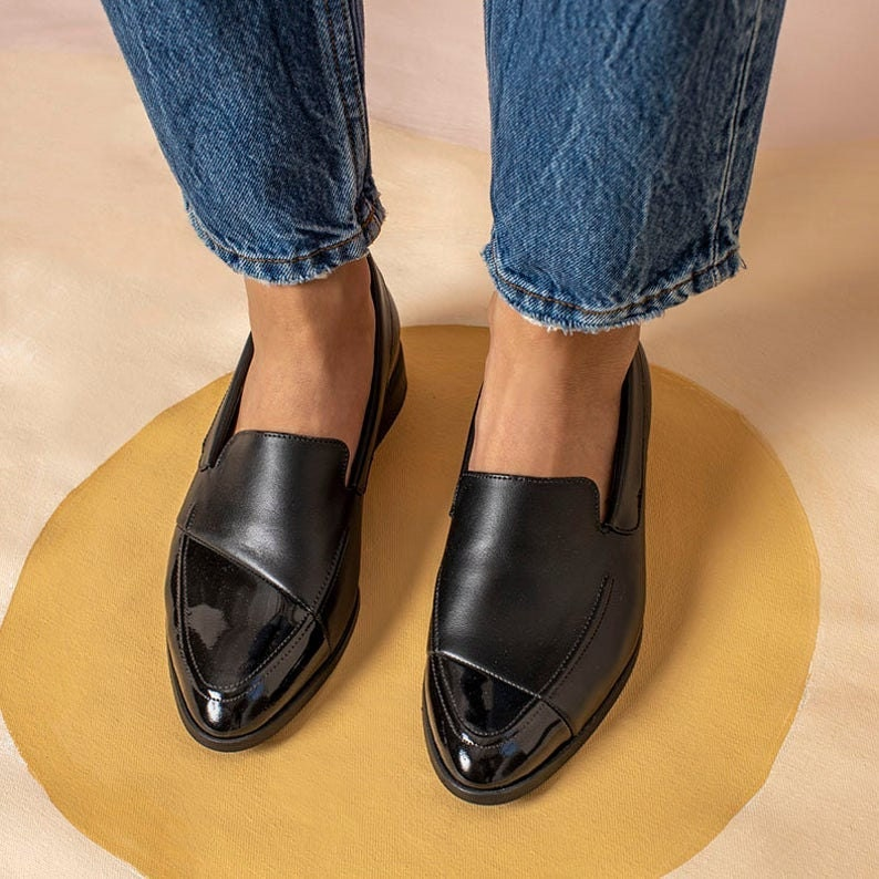 Asymmetrical leather loafers from Katz and Birds