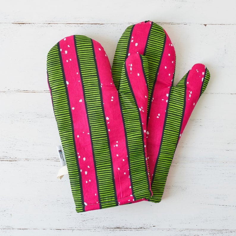 Pink striped oven mitts from Bespoke Binny