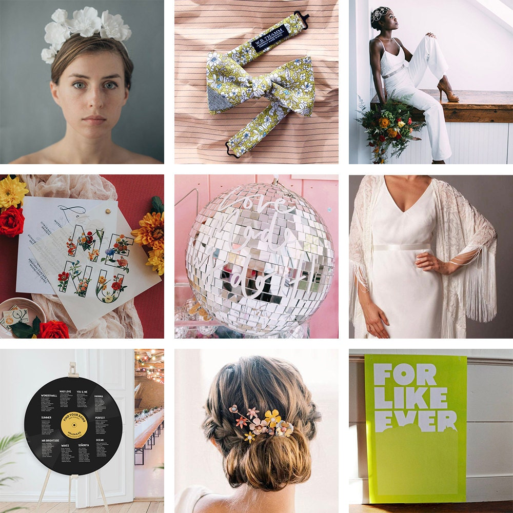 A collage of '70s wedding styles and decor from Etsy.
