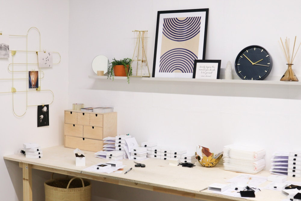 A snapshot of Sabrina's packaging station in her Vancouver workshop.
