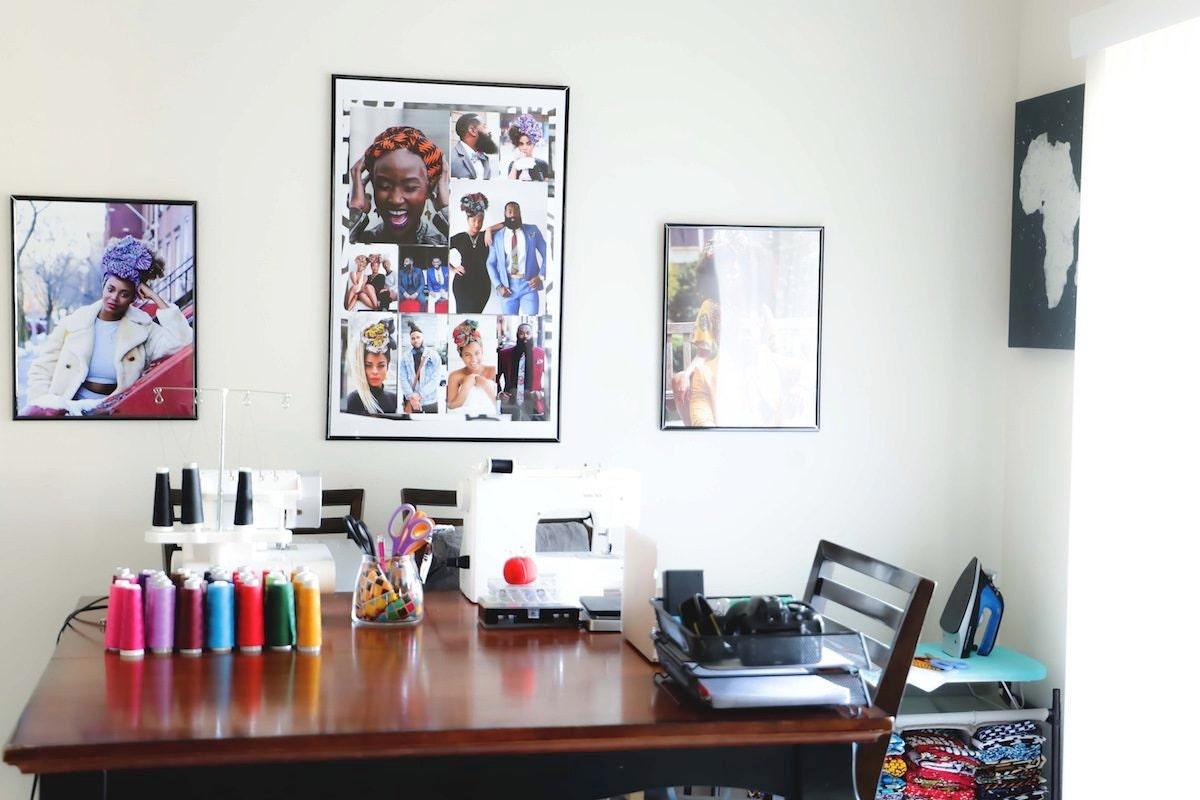A colorful corner of Ade's studio includes a moodboard