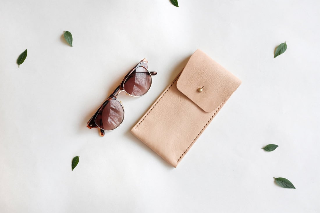 Leather eyeglasses case in natural nude from Small Queue