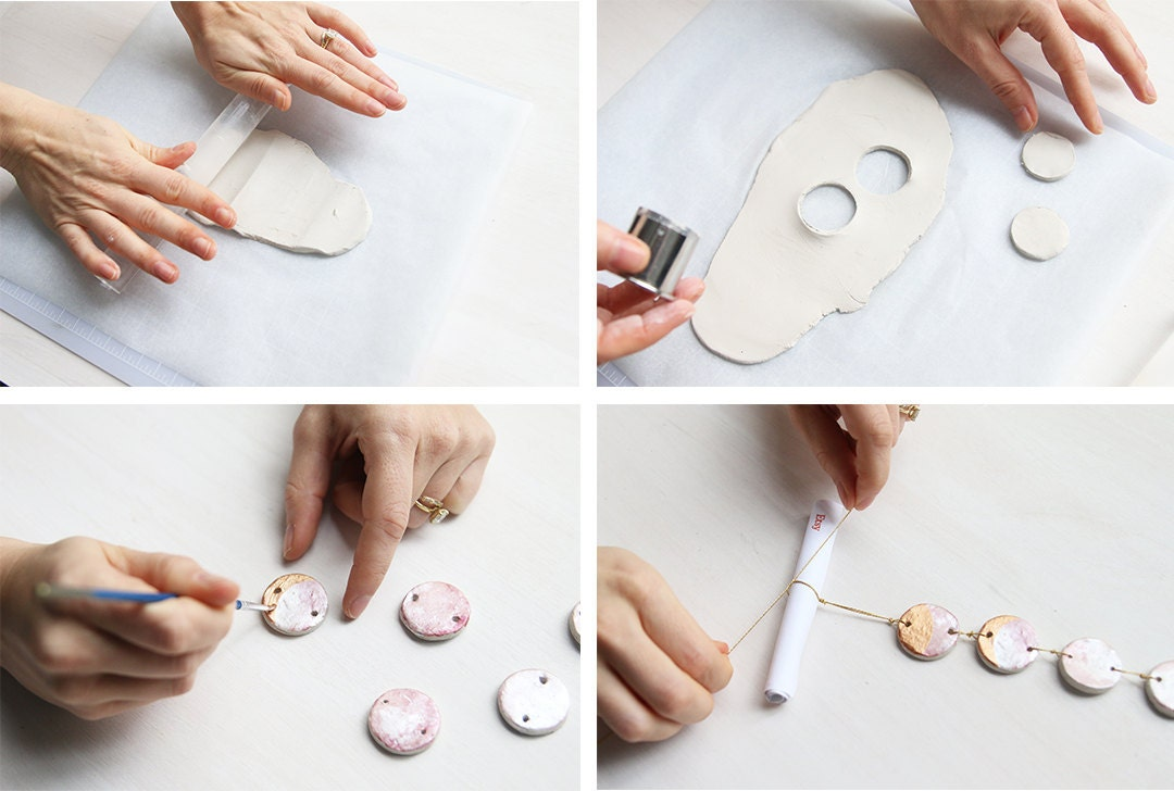 Photo collage showing 4 steps to DIY a gift card holder shaped like a moon phase ornament
