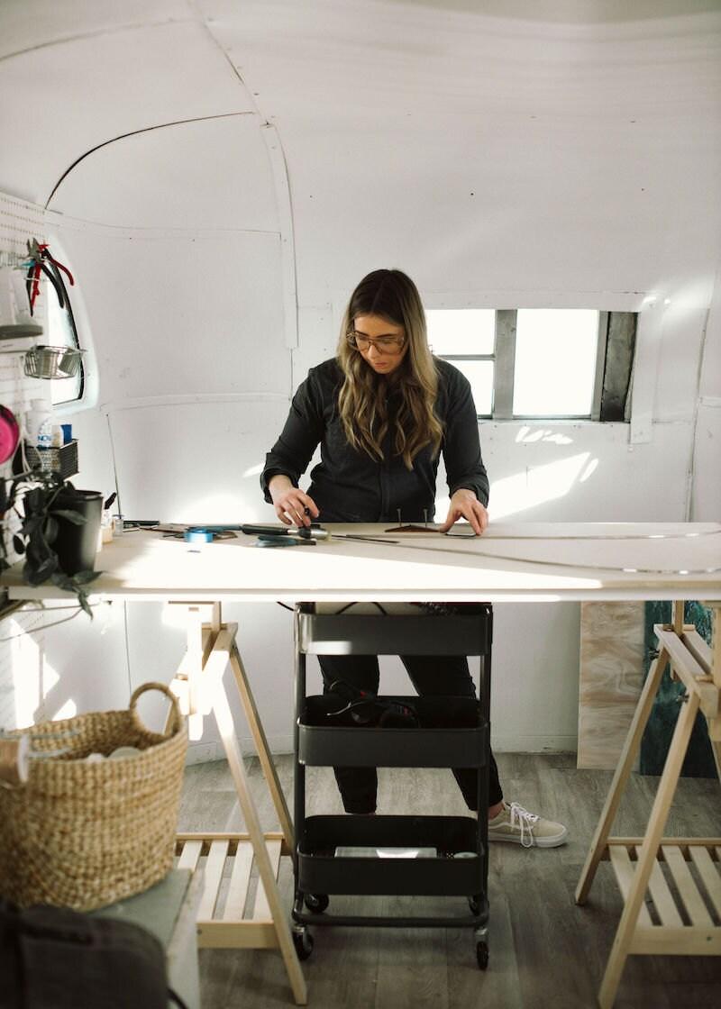 Lauren at work in her studio