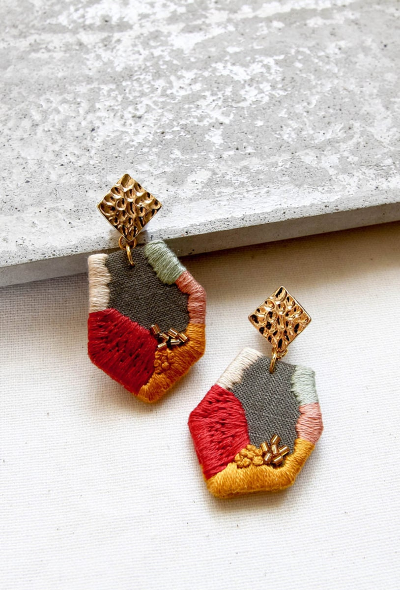 Abstract geometric embroidered earrings from Thursday Craft Love