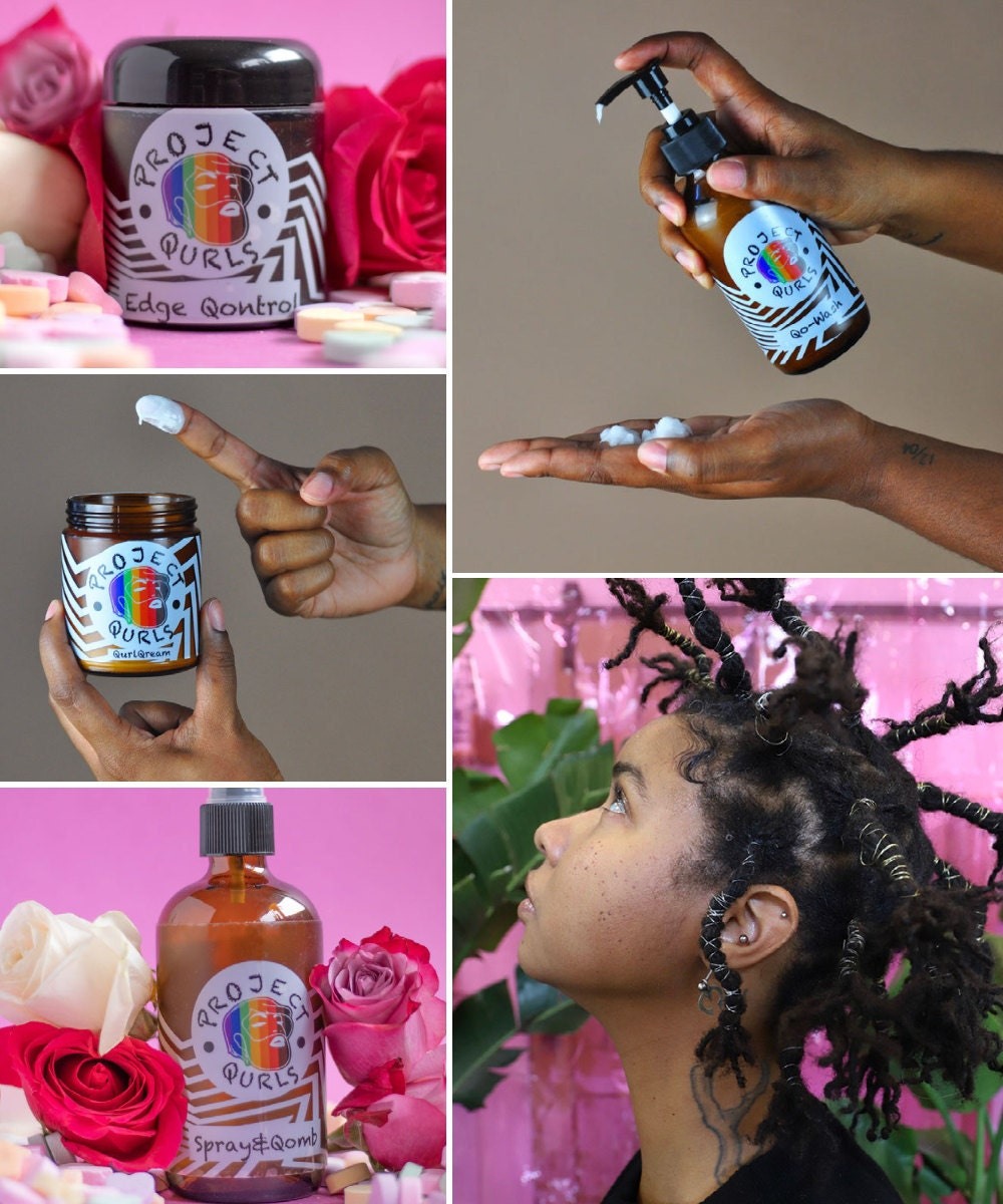 A collage of hair products from Project Qurls pictured alongside founder Madin Lopez.