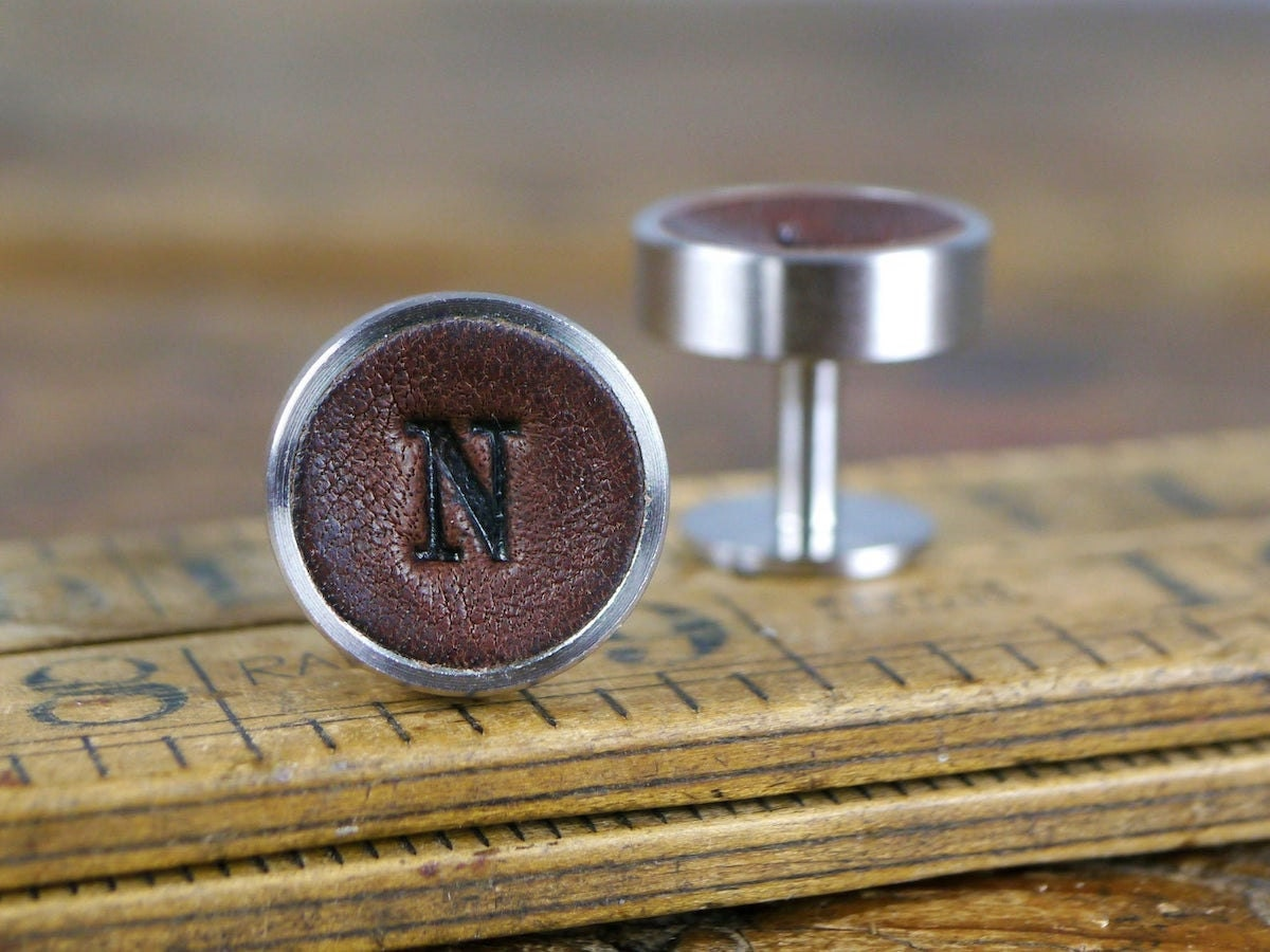 Custom leather cufflinks from Kingsley Leather and more personalized Father's Day gifts from Etsy