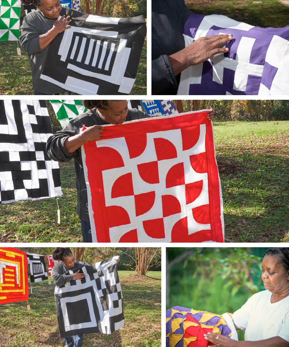 A collage of Gee's Bend quilter Mary Margaret Pettway posing with her various quilts.