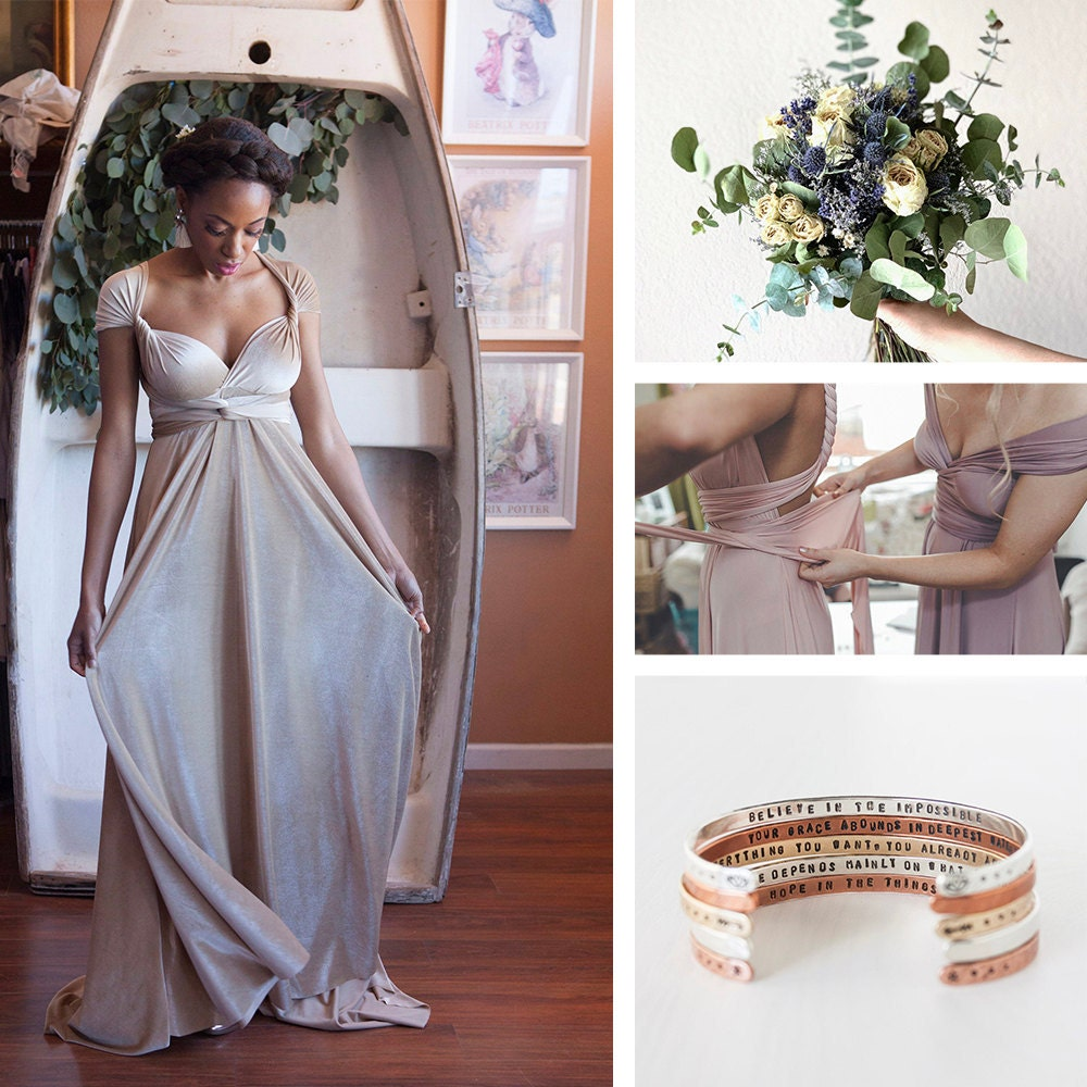 A collage of Etsy items for bridesmaids