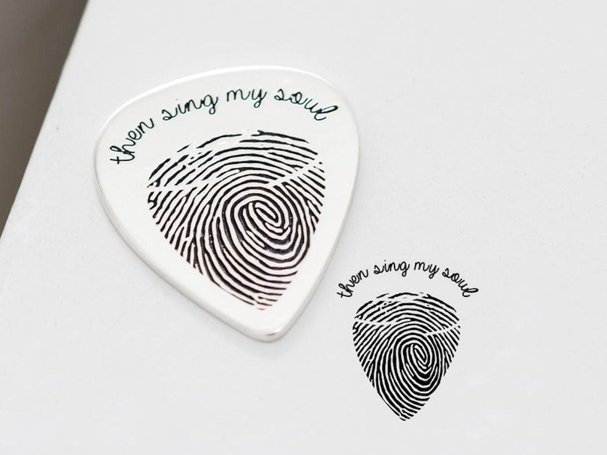 Engraved fingerprint guitar pick from Caitlyn Minimalist, and other personalized Father's Day gifts from Etsy