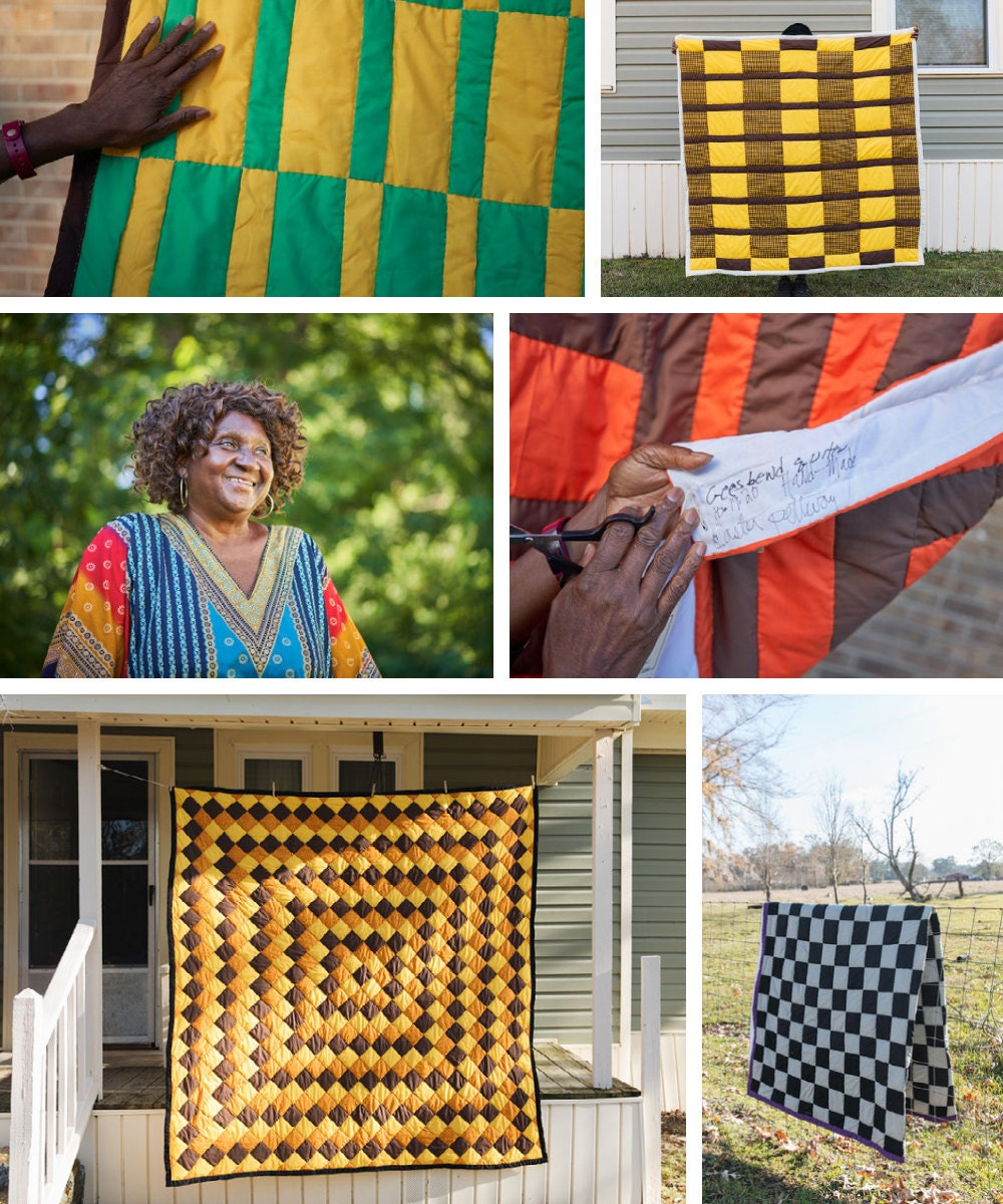 A collage of Gee's Bend quilter Caster Pettway and her quilts.
