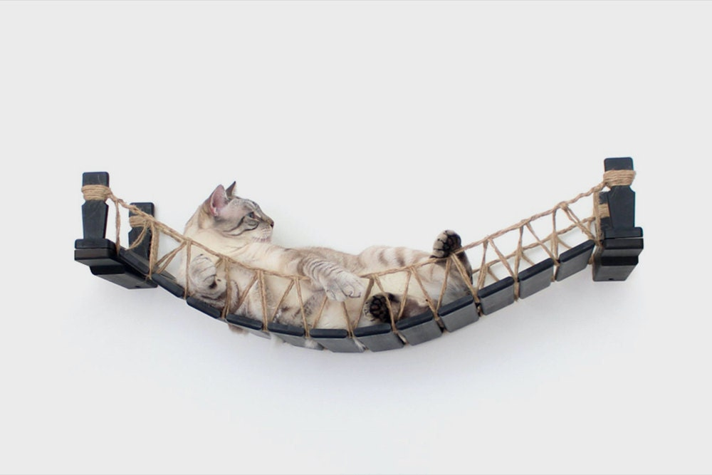 A hanging wooden cat bridge from CatastrophiCreations