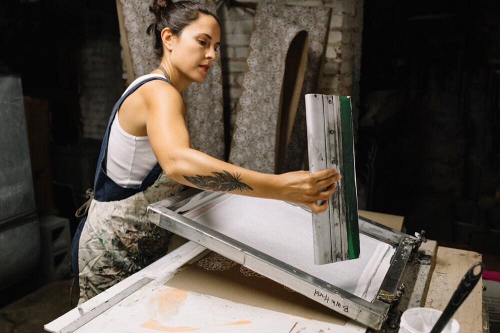 Bonnie working on a print