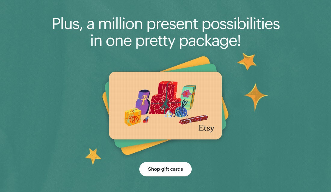 """Banner that reads """"Plus, a million present possibilities in one pretty package! Shop gift cards"""""""