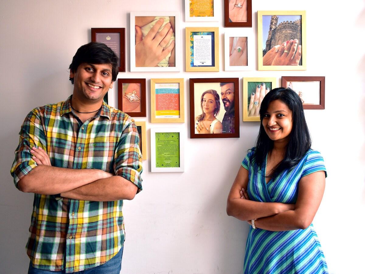 Portrait of Abhika Jewels owners   Madhulika Anchalia and Abhishek Bardia in their Delhi, India studio